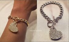 "GOLD or SILVER METAL PAVE HEART CHARM CHAIN LINK TOGGLE 8"" BRACELET NEW"
