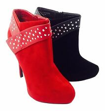 Large Size Ladies Red/Black Stud Ankle Boots Size UK11 UK 10 DRAG CD TV