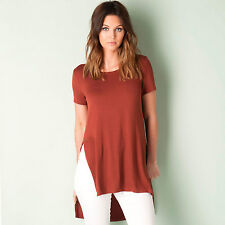 Womens Only Long Slit Top In Rust From Get The Label