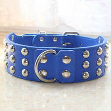 Blue Leather Mushroom Studded Pet Dog Collar Large Dog Pit Bully German Shepherd