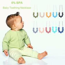 Silicone Baby Teething Necklace BPA Free Chew Beads Teether Relief Nursing Z9P1