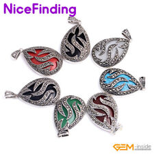 Fashion Charming Women Jewelry Chain Pendant Drip Beads Marcasite Silver Plated