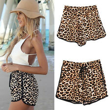 Vogue Women's Summer Slim Leopard Printed Summer Beach Flat Shorts Pants S-XL