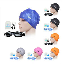 YUKE Adults Silicone Swimming Long Hair Cap Ear Wrap Waterproof Hat +Goggles US