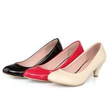 Chic Womens Round Toe Shiny Synthetic Leather High Heels Pumps US All Size Shoes