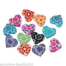 Wholesale HOT Mixed Polymer Clay Flower Heart Charm Beads 15mm x13mm