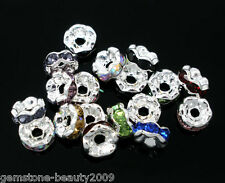 Wholesale HOT Mixed Rhinestone Rondelle Spacers Beads 6mm B06081