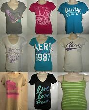 New Aeropostale Glitter Graphic T-Shirts Cami Appliques Logo Sequin Lace XS S L