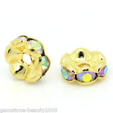 Wholesale HOT Spacer Beads Rondelles AB Color Rhinestone Gold Plated 8mm Dia.
