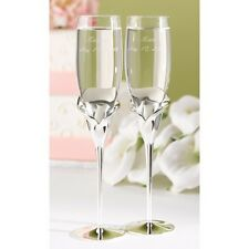 Personalized Wedding Toasting Flutes Calla Lily Silver Champagne Glasses