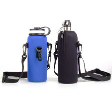 1L Water Bottle Carrier Insulated Cover Sleeve Bag Pouch Holder + Shoulder Strap
