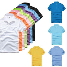 Men's Cotton Blend Casual Slim Fit Stylish Short Sleeve Solid Shirt Polo 16Color
