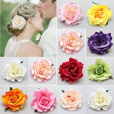 Bridal Rose Flower Hairpin Brooch Wedding Bridesmaid Party Colorful Hair Clip