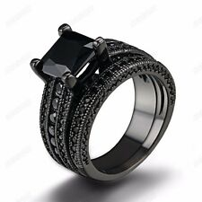 Women 2-in-1 4 Claws Cubic Zirconia Band Ring Set 18k Black Gold Plated Jewelry