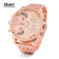 Stainless Steel Dual Time Zone Mens Quartz Watch Rose Gold Big Dial Mens Watches