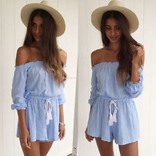 Women Off Shoulder Clubwear Jumpsuit Summer Sexy Playsuit Romper Short Trousers
