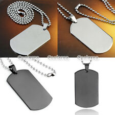 """1pc Stainless Steel Army Military Dog Tag Blank Pendant Chain Necklace Punk 19""""L"""