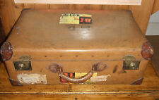VINTAGE HARDBODIED SUITCASE WITH LABELS Old Luggage ACCESSORY PROP PRESENT