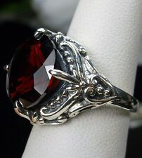Victorian 6ct Round Cut *Red Garnet* Sterling Silver Filigree Ring Size Any/MTO