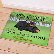 Personalized Bear Doormat Welcome To Our Neck of Woods Bear Doormat Door Mat