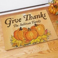 Personalized Thanksgiving Doormat Give Thanks Pumpkin Welcome Doormat Door Mat