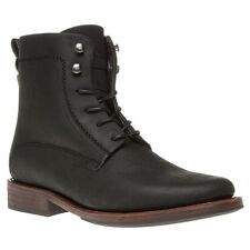 New Mens SOLE Black Harden Leather Boots Lace Up
