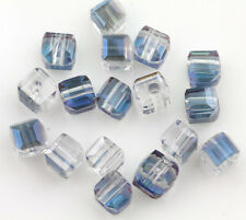 50Pcs Faceted Cube Cut Glass Crystal Loose Spacer Beads Jewelry Accessory 5mm