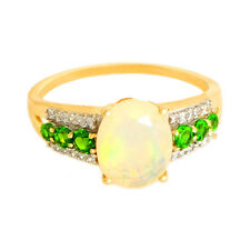 Ethiopian Opal 1.90 Ct. Chrome Diopside Zircon Ring In 9kt Solid Yellow Gold