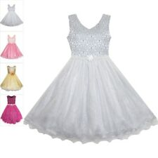 Girls Dress Pearl Sparkling Sash Shiny Glitter Party Grey Pageant Age 3-14 Years