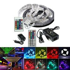 5M SMD 3528 5050 RGB/White 300LEDs LED Strip Lights DC 12V Adapter Power Supply