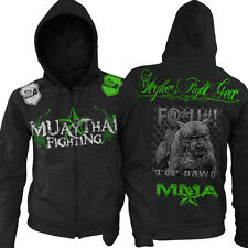 Muay Thai Pit Bull Dog On Full Zip Up Hoodie Jumper UFC MMA W FREE Tapout Sicker