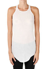 RICK OWENS New woman Milk BASIC RIBBED TANK Silk Blend Made Italy NWT