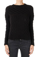 PINKO New Woman Black Cable Knit SCARTAREGALO Sweater jumper Made in Italy