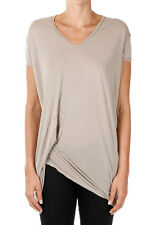 RICK OWENS New woman tee  beige T-shirt V-NECK Silk Blend Made in Italy NWT