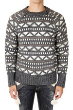 DSQUARED2 Man Round Neck Knitted Sweater with Pom Pom Made in Italy