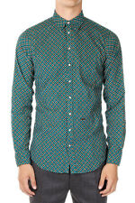 DSQUARED2 Dsquared² New Men Green Velvet Cotton floral shirt Made in Italy NWT