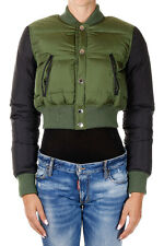 Dsquared2 D2 New women Short Down Bomber Jacket Green & Black AUTHENTIC