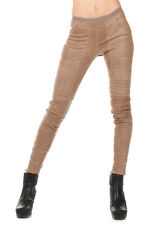 RICK OWENS Woman Beige Leather Leggings New with Tags and Original