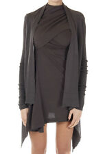 RICK OWENS Women Brown Virgin Wool Cardigan Made in Italy New with Tag