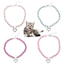 Cute Pet Dog Cat Puppy Pearl Rhinestone Pendant Necklace Jewelry Collar Necktie