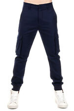 L(!)W BRAND New Men virgin Wool Blue Pants Trouser Drawstring Ankle NWT