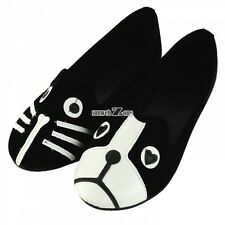 Black and white Cute Cat Dog Face Comfort Low Heel Women Loafers shoes S0BZ