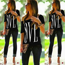 Womens Loose Short Sleeve Cotton Casual Blouse Shirt Tops Fashion Summer T-shirt