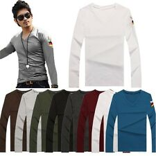 Mens Solid V-Neck Long Sleeve Slim Fit T-shirts Cotton Military Basic Tee New
