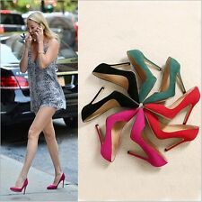 Classics Pumps Sexy Lady Stilettos High Heel Women Party Suede Pointed Toe Shoes