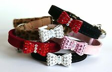 Cat Collar Kitten Diamante Crystal Bow Tie Safety Elastic Bell 4 Colours