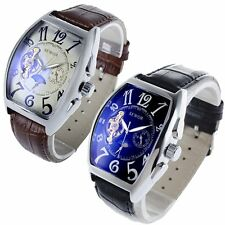 SEWOR Luxury Moon Automatic Mechanical Leather Wrist Watch Classic Mens Sports