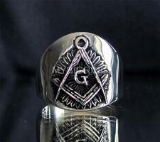 MASONIC STERLING SILVER RING WITH FREEMASON SYMBOL ANTIQUED ANY SIZE