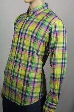 Ralph Lauren Yellow Pink Custom Plaid Dress Shirt Blue Pony NWT