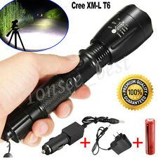 5000LM CREE XML T6 LED Flashlight Torch+Rechargeable 18650 Battery+Charger Lot